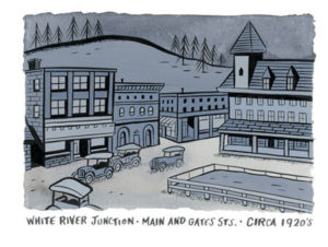White River Junction circa 1920s drawing by Seth