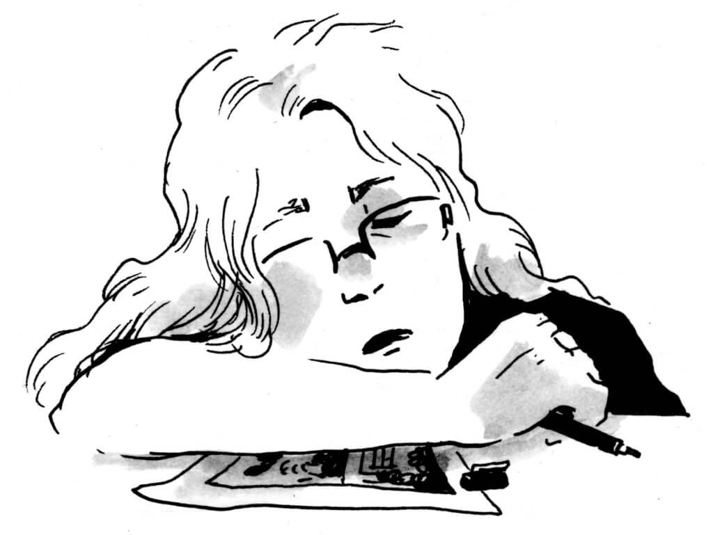 Self portrait by Tillie Walden with her pen