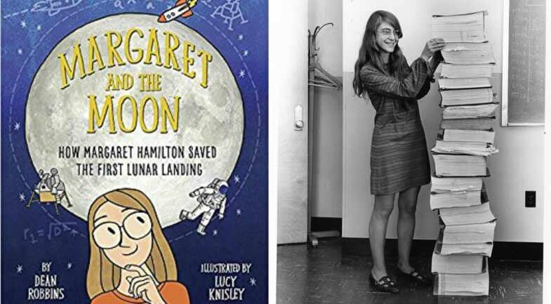 Margaret and the Moon cover and a photo of Margaret Hamilton